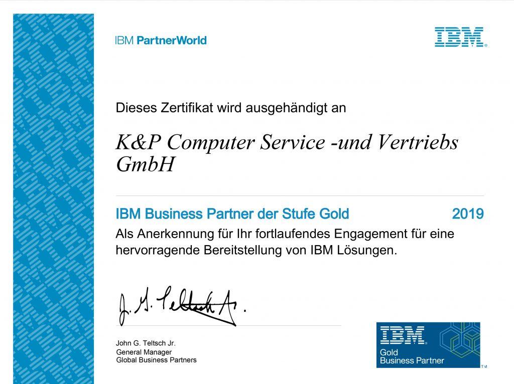 Zertifikat IBM Gold Businesspartner