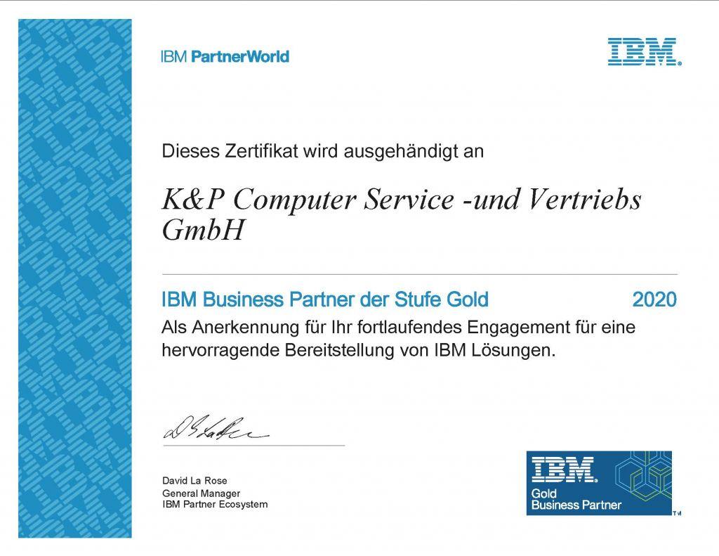 Zertifikat IBM Gold Partner